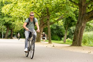 Man biking in the Vondelpark.