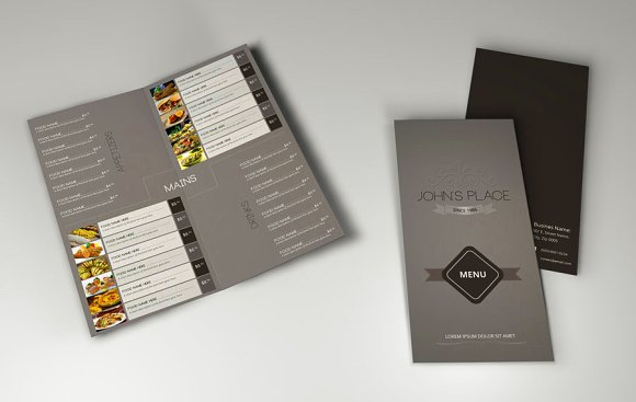 bi fold food menu template brochure templates on creative market. Black Bedroom Furniture Sets. Home Design Ideas