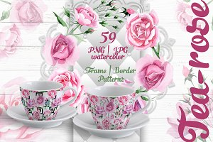 Tea-rose PNG watercolor set