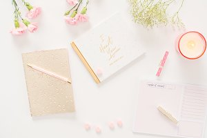 Pink/Gold Styled Desktop Flat Lay 9