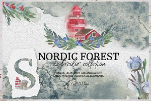 Nordic Forest. Watercolor Collection