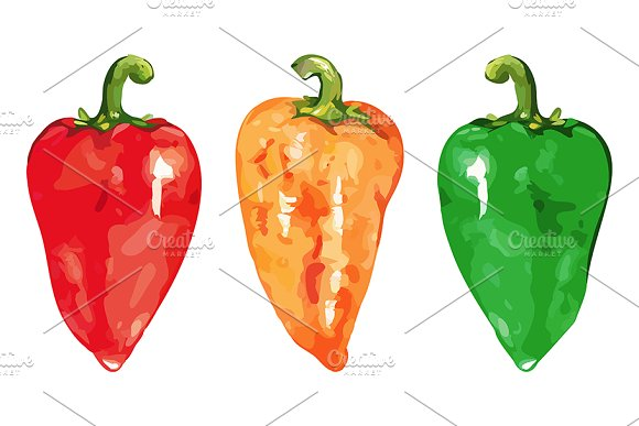 Watercolor Bell Peper Isolate Vector
