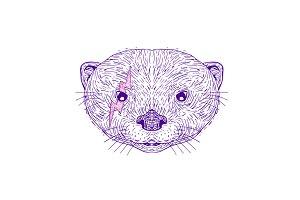 Otter Head Lightning Bolt Drawing