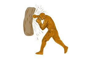 Boxer Punching Bag Drawing