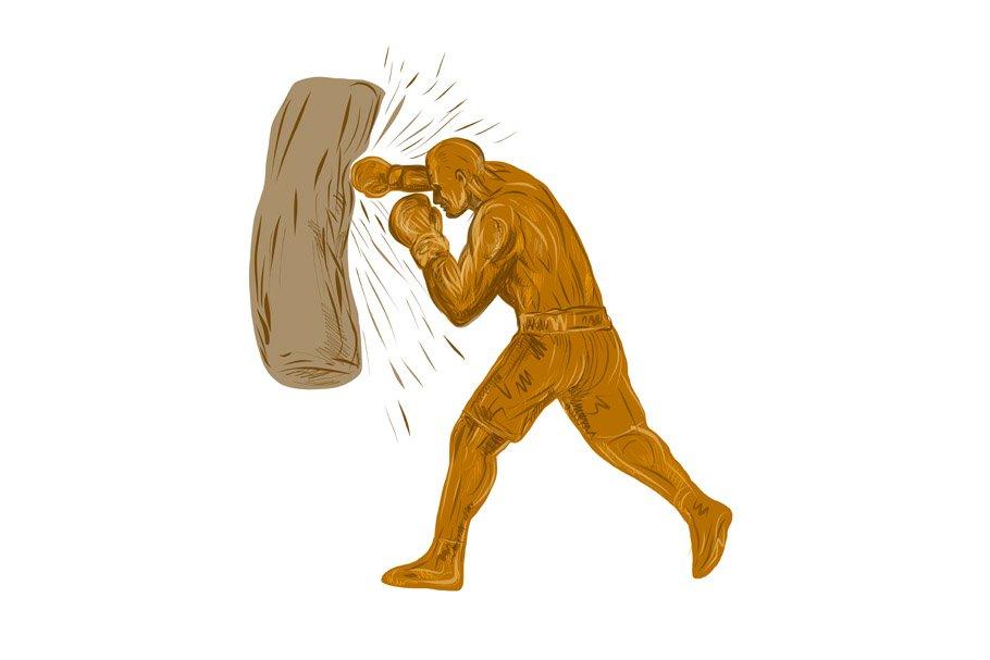 Boxer Punching Bag Drawing