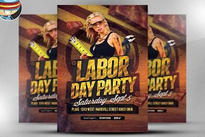 Labor Day Party Flyer Template 2