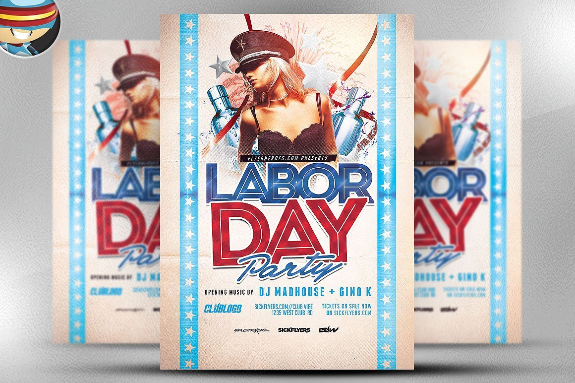 Labor Day Party Flyer Template 3 ~ Flyer Templates ~ Creative Market