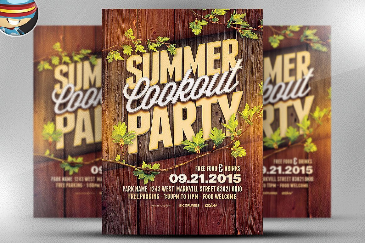 Summer Cookout Party Flyer Template Flyer Templates Creative Market