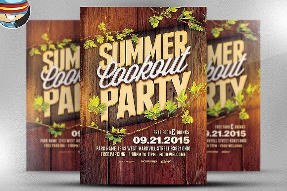 Summer Cookout Party Flyer Template ~ Flyer Templates ~ Creative ...