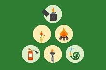Fire set - Zippo, matches, torch