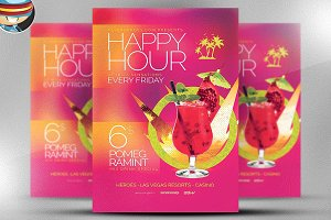 Minimal Happy Hour Flyer Template