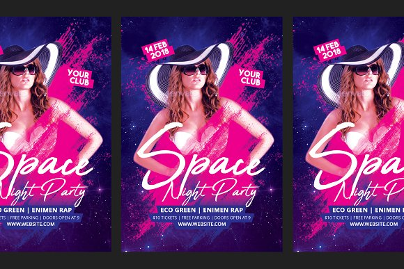 Space Night Party Flyer