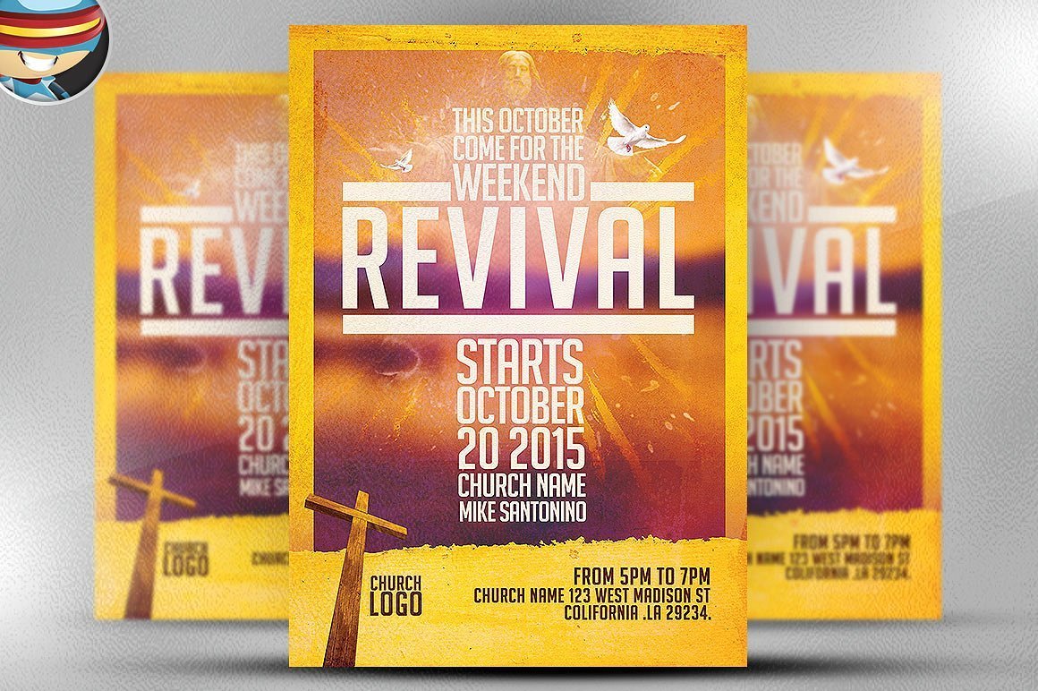Church Revival Flyer Template Flyer Templates Creative Market - Free church revival flyer template