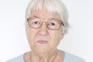 Portrait of serious elderly women