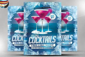 Ice Cold Cocktails Flyer Template