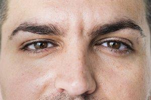 White man closeup on eyes