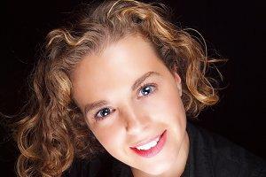 Beautiful blonde woman smiling