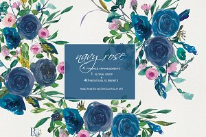 Watercolor Navy Rose Clip Art