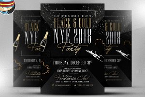 Black & Gold NYE Flyer Template
