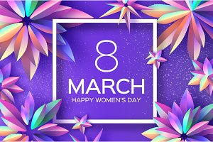 Bright Violet Holographic Flowers. Happy Womens Day. International 8 March. Mothers Day. Modern Paper cut Futuristic Floral Greetings card. Spring blossom decor. Square frame. Text. Holidays.