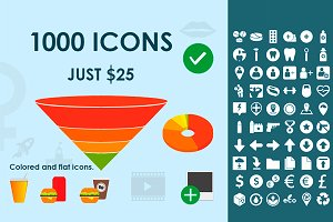 1000 SVG icons for web and mobile UI