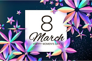 Bright Violet Holographic Flowers. Happy Womens Day. International 8 March. Mothers Day. Modern Paper cut Futuristic Floral Greetings card. Spring blossom decor on dark. Square frame. Text. Holidays.
