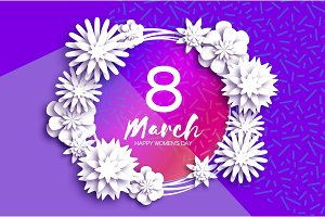 Bright White Origami Spring Flowers Banner. Paper cut Floral Greetings card. Spring blossom. Happy Womens Day. 8 March. Mothers Day. Text. Seasonal holiday on violet. Trendy decor.
