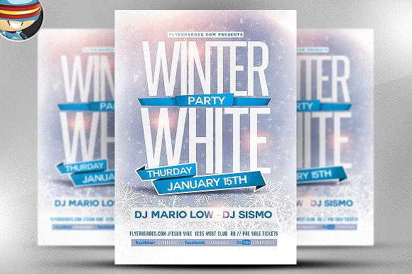Winter White Party Flyer Template Flyer Templates Creative Market