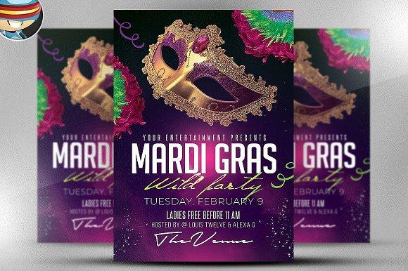 Mardi Gras Party Flyer Template 2