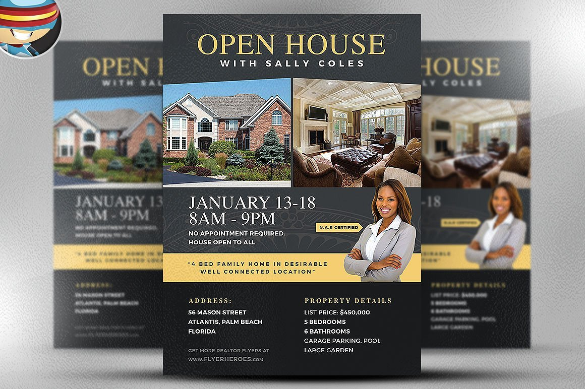 open house flyer template 2 flyer templates creative market. Black Bedroom Furniture Sets. Home Design Ideas