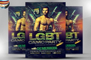 LGBT Camo Party Flyer Template