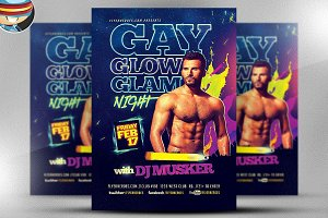 Gay Glow Glam Flyer Template