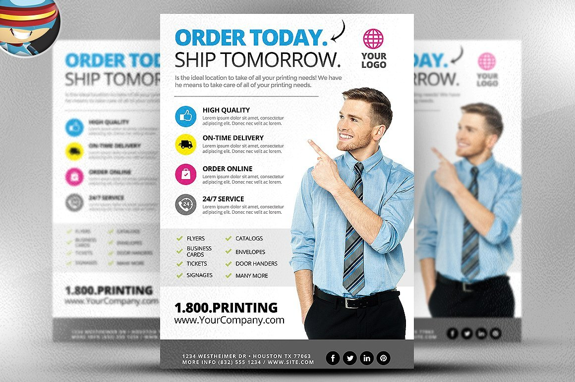 Printing services flyer template 2 flyer templates creative market reheart Images