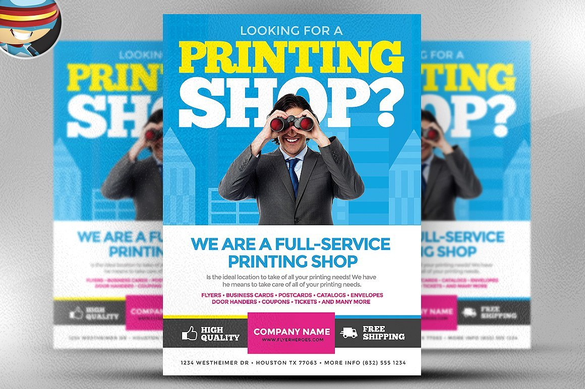 Printing services flyer template flyer templates creative market reheart Images