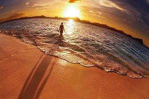 Tropical beach, Philippines, fisheye