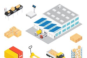 Warehouse Isometric Icon Set