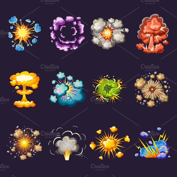 Comic Explosions Icons Set