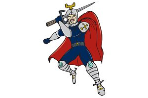 Knight Brandishing Sword Cartoon