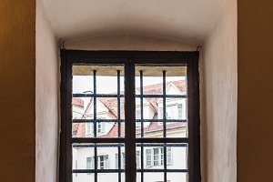 Close up of old arch window