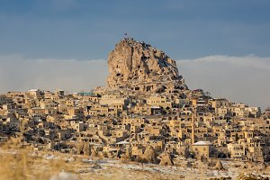 Town of Uchisar at the sunrise, Cappadocia.