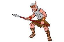Orc Warrior Thrusting Spear Cartoon