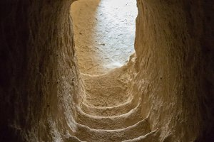 Staircase entrance to a shepherd's cave near the West Bank town of Bethlehem.