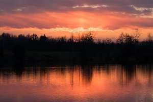 sunset above the pond