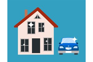 House and Blue Car Poster Vector Illustration