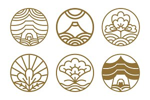 Japanese Icons Set Flowers Vector Illustration