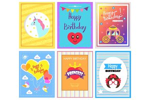 Happy Birthday Princess Cards Vector Illustration