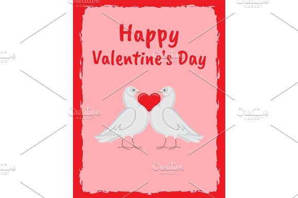 Happy Valentine Day Poster Doves Holding Red Heart ~ Illustrations ...