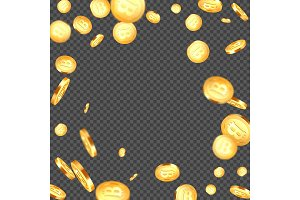 Falling metallic bitcoins background.