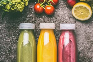 Green,red and yellow smoothies