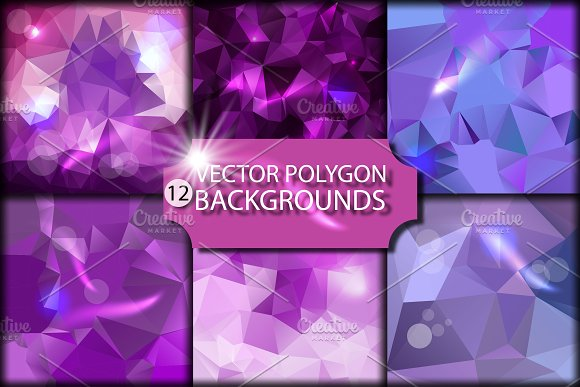 12 Polygonal Backgrounds In Vector